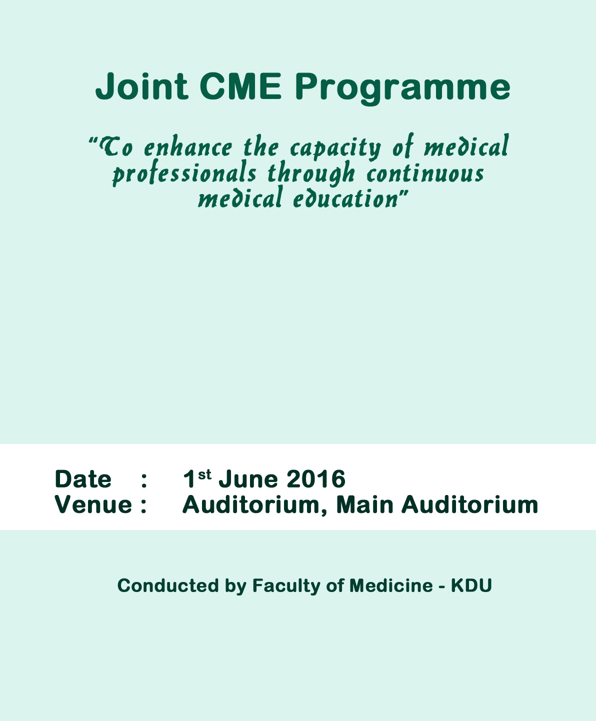 Joint CME Programme