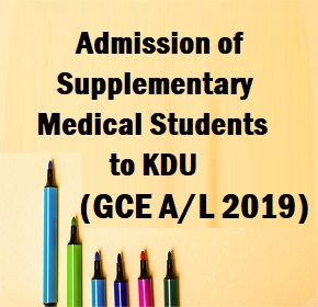 Admission of Supplementary Medical Students to KDU (GCE A/L 2019)